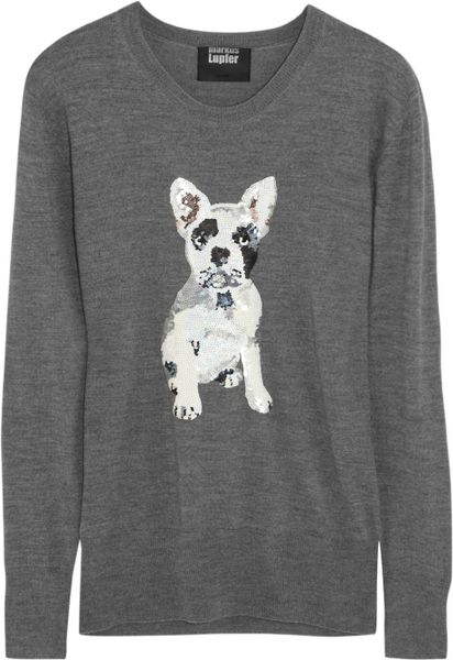 Knitting Patterns For Bulldog Sweaters : Markus Lupfer French Bulldog Sequined Merino Wool Sweater in Gray Lyst