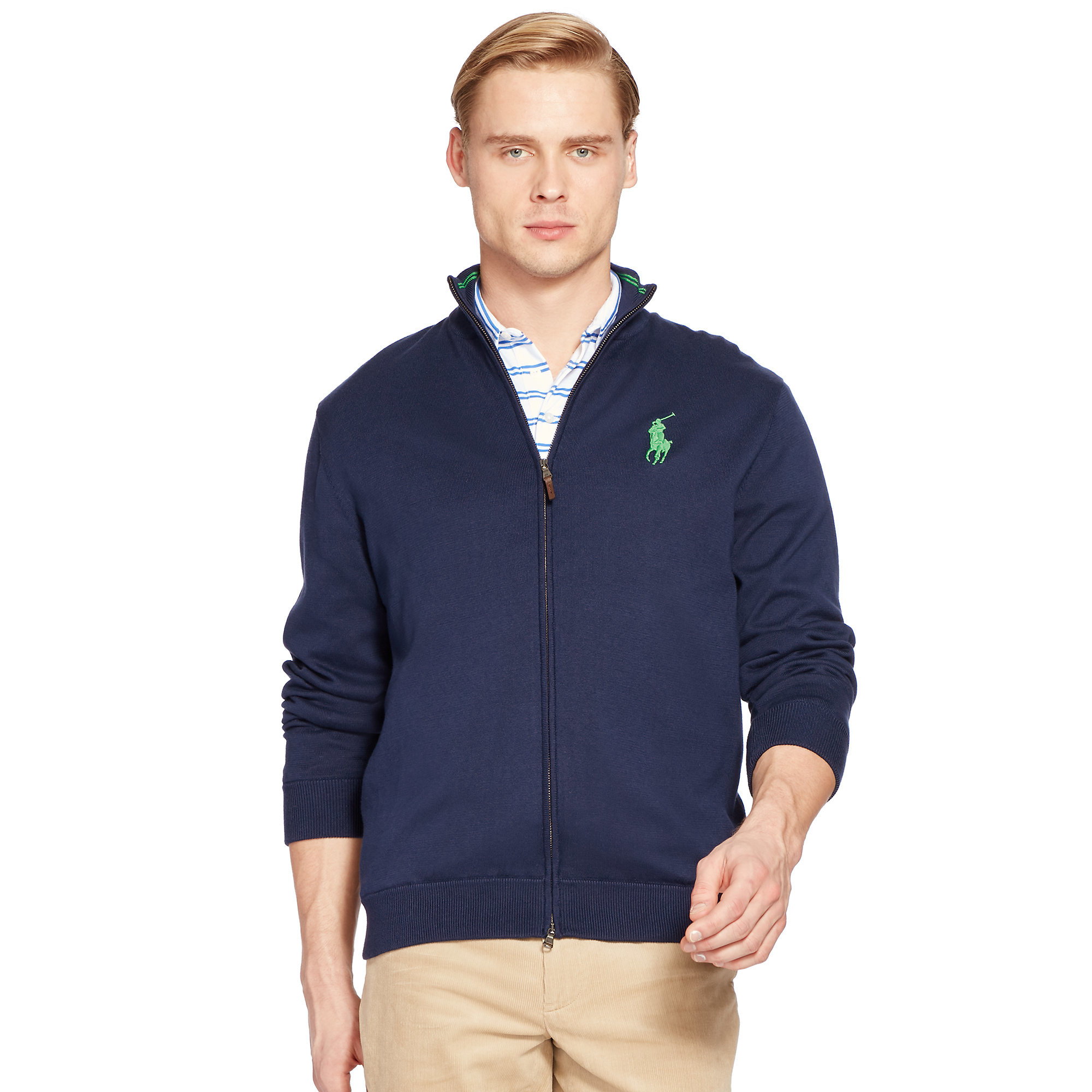 Pink pony Pima Cotton Full-zip Sweater in Blue for Men | Lyst
