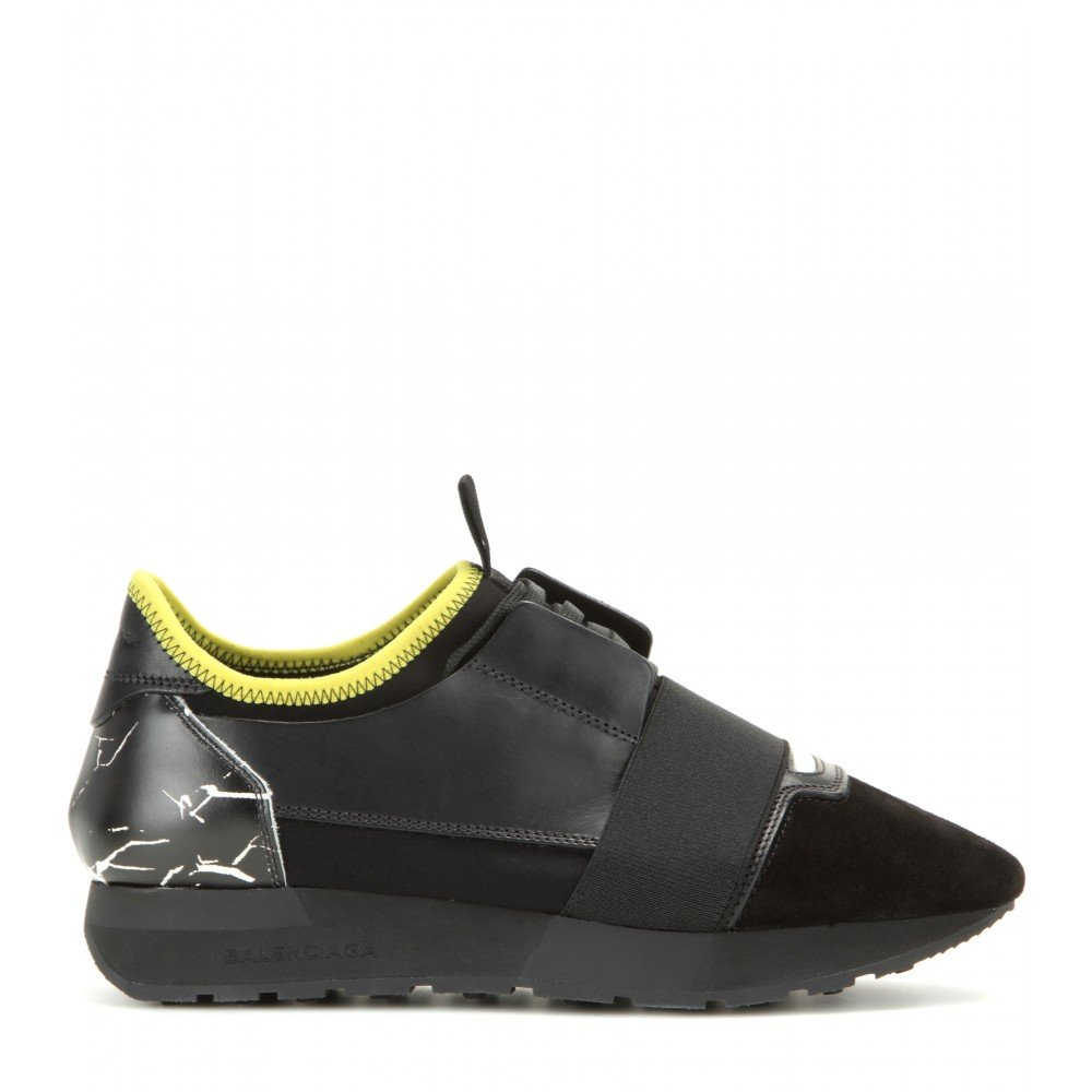 Balenciaga Race Runner Fabric, Leather And Suede Sneakers in Black