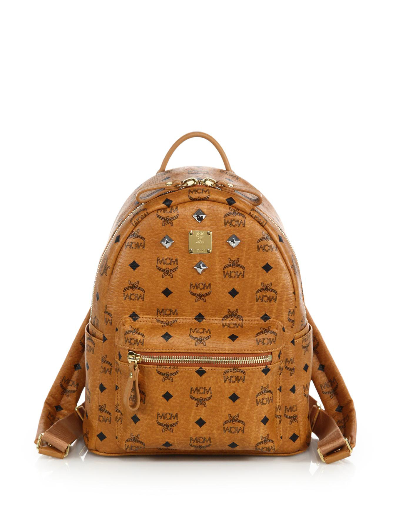 Mcm Stark Sprinkle Stud Small Coated Canvas Backpack In