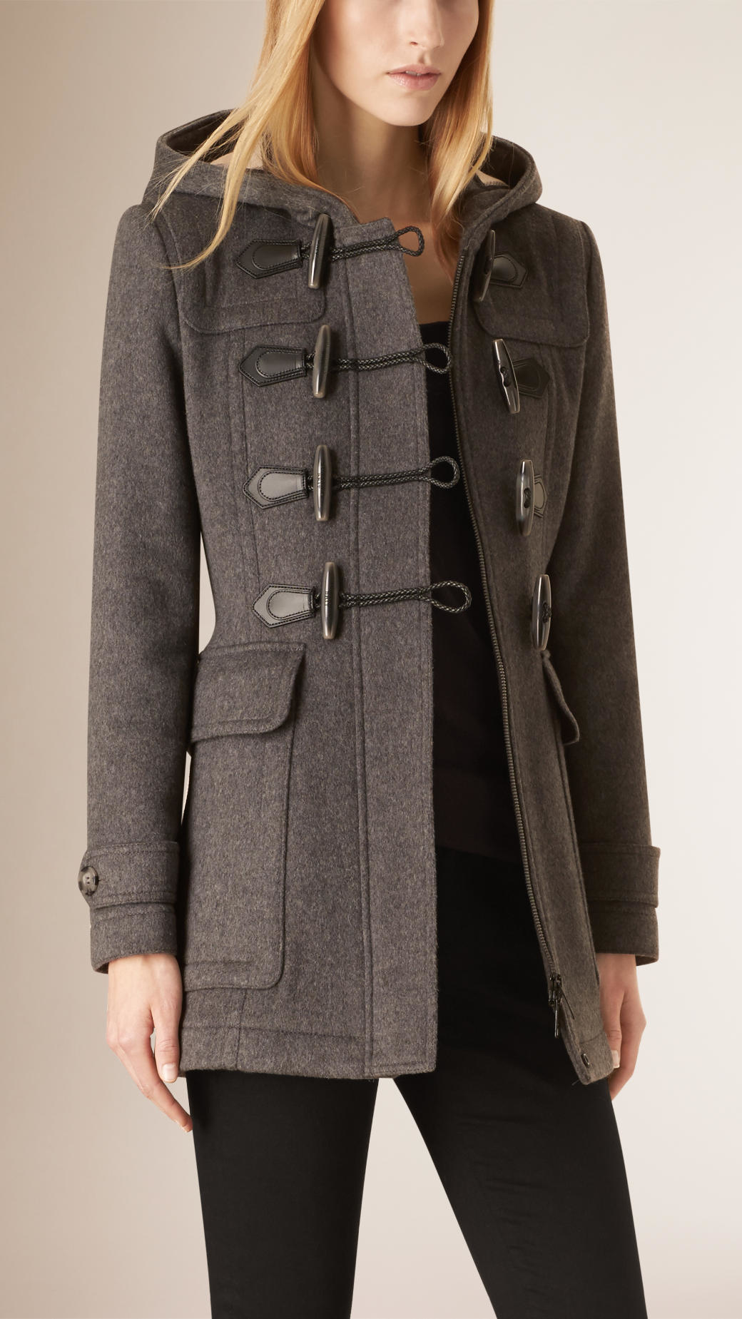 Burberry Fitted Wool Duffle Coat in Gray | Lyst