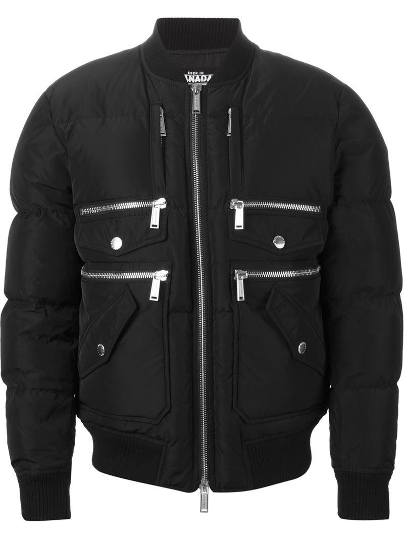 Dsquared² Zipped Pocket Bomber Jacket in Black for Men