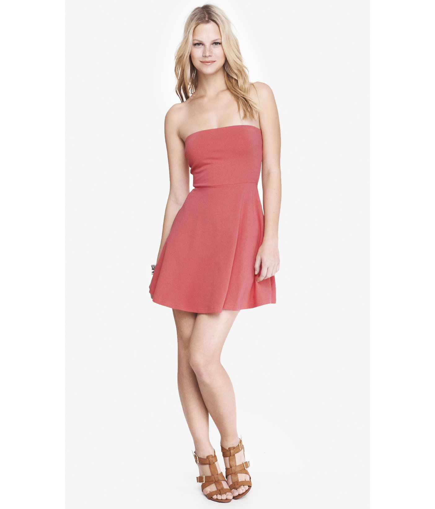 ec1566b3584c Lyst - Express Coral Strapless Skater Dress in Pink