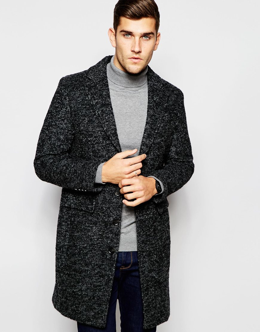 Selected Wool Salt & Pepper Overcoat in Black for Men | Lyst