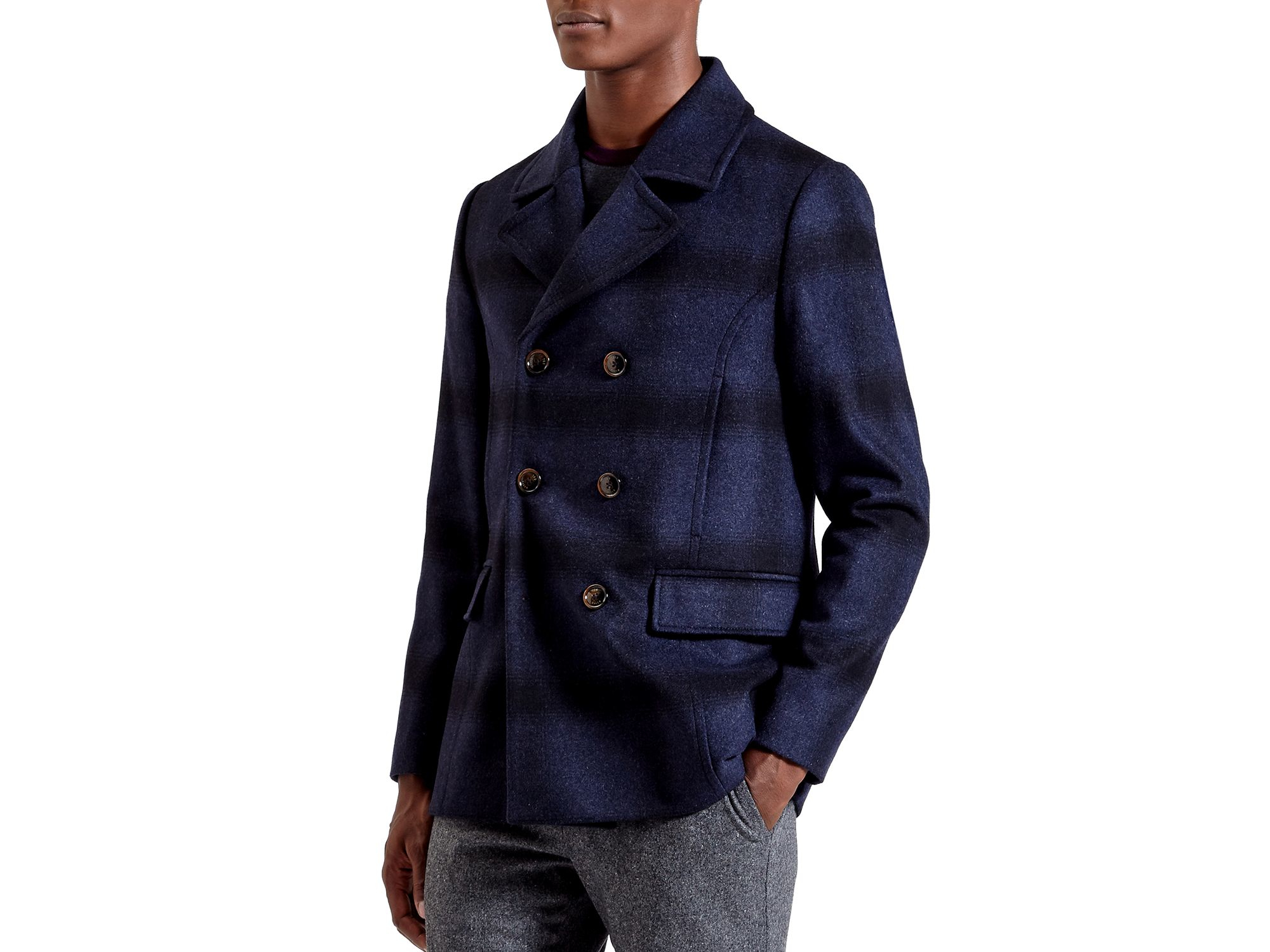 Ted baker Arion Check Wool-blend Pea Coat in Blue for Men ...