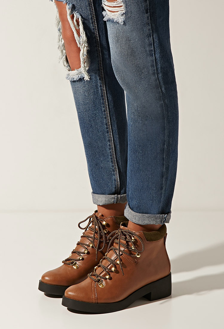 Lace Up Low Heel Boots