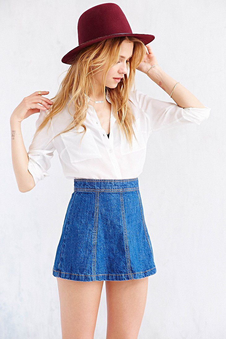 Bdg Denim A-Line Mini Skirt in Blue | Lyst