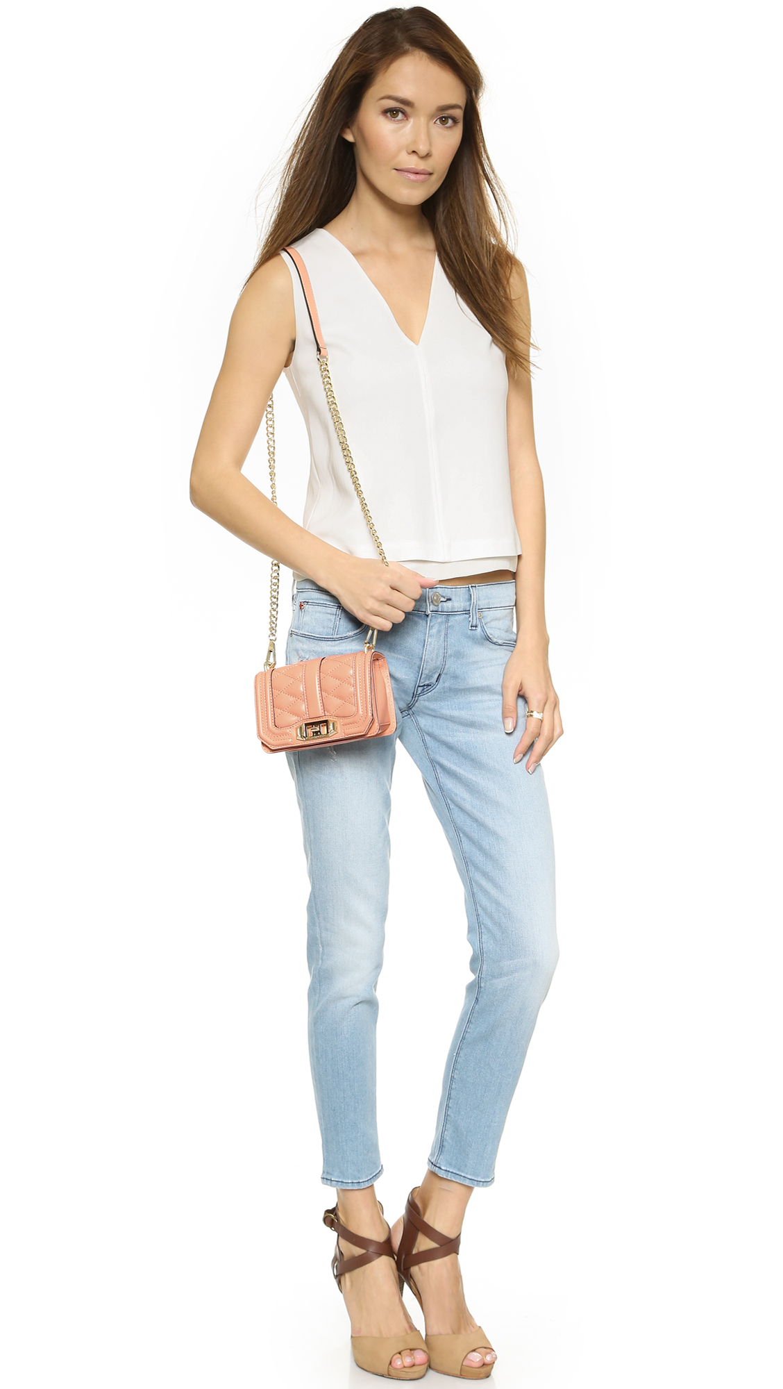 Rebecca Minkoff Mini Love Cross Body Bag - Apricot in Pink