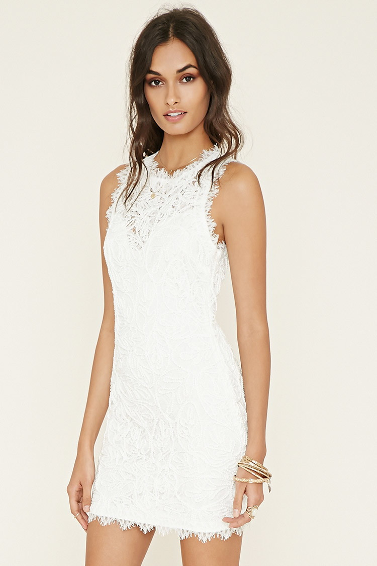 forever 21 textured eyelash lace dress in white lyst