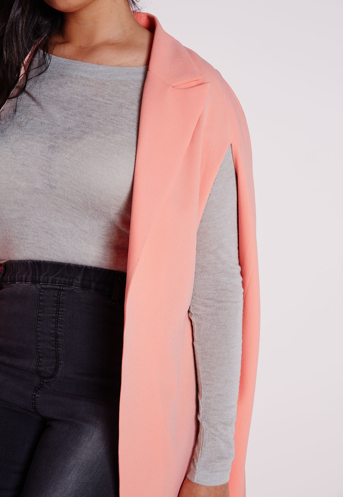 9af73593cc7 Missguided Plus Size Cape Blazer Crepe Blush in Pink - Lyst