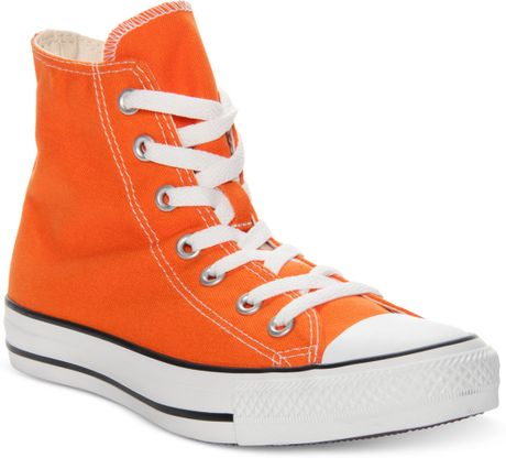converse chuck taylor hi top casual sneakers in orange for