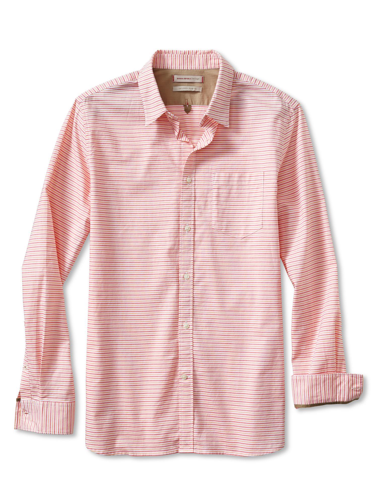 Banana republic heritage horizontal stripe shirt sunkissed for Horizontal striped dress shirts men