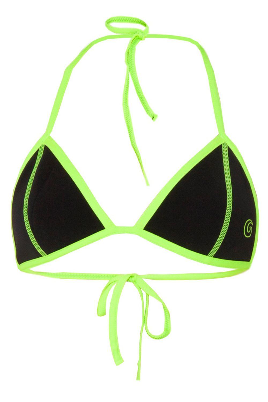 Glidesoul Neoprene Triangle Bikini Top in Black