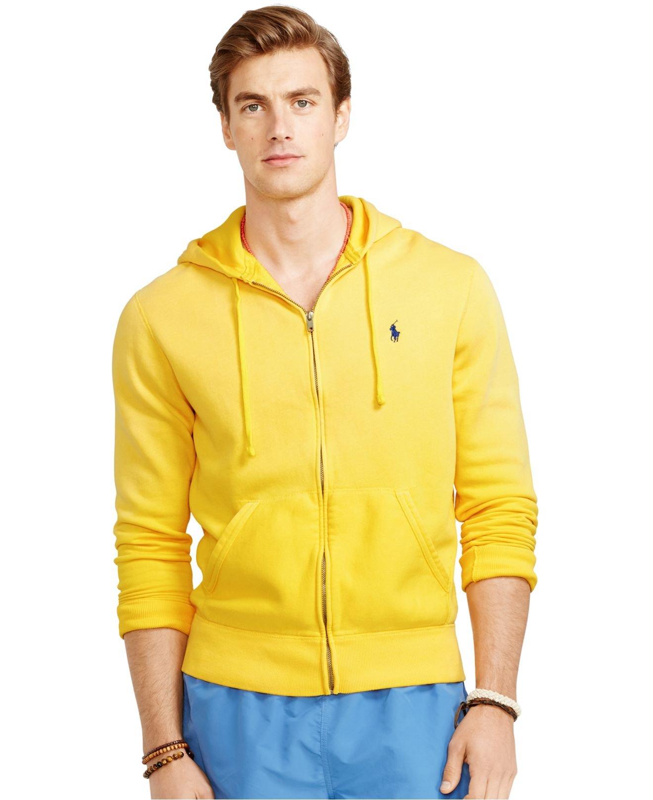 polo ralph lauren full zip fleece hoodie in yellow for men. Black Bedroom Furniture Sets. Home Design Ideas