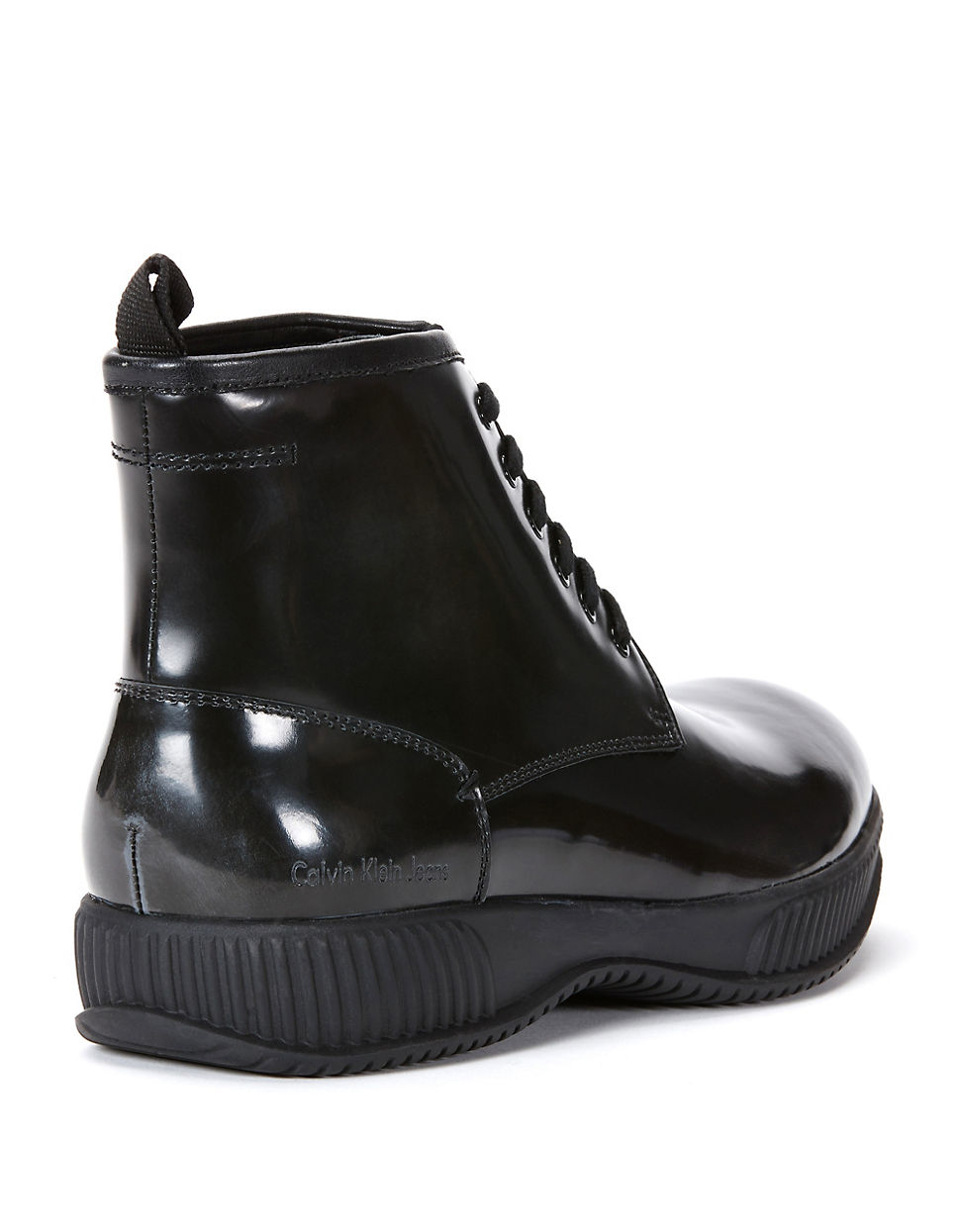 calvin klein hunt patent leather boots in black for lyst