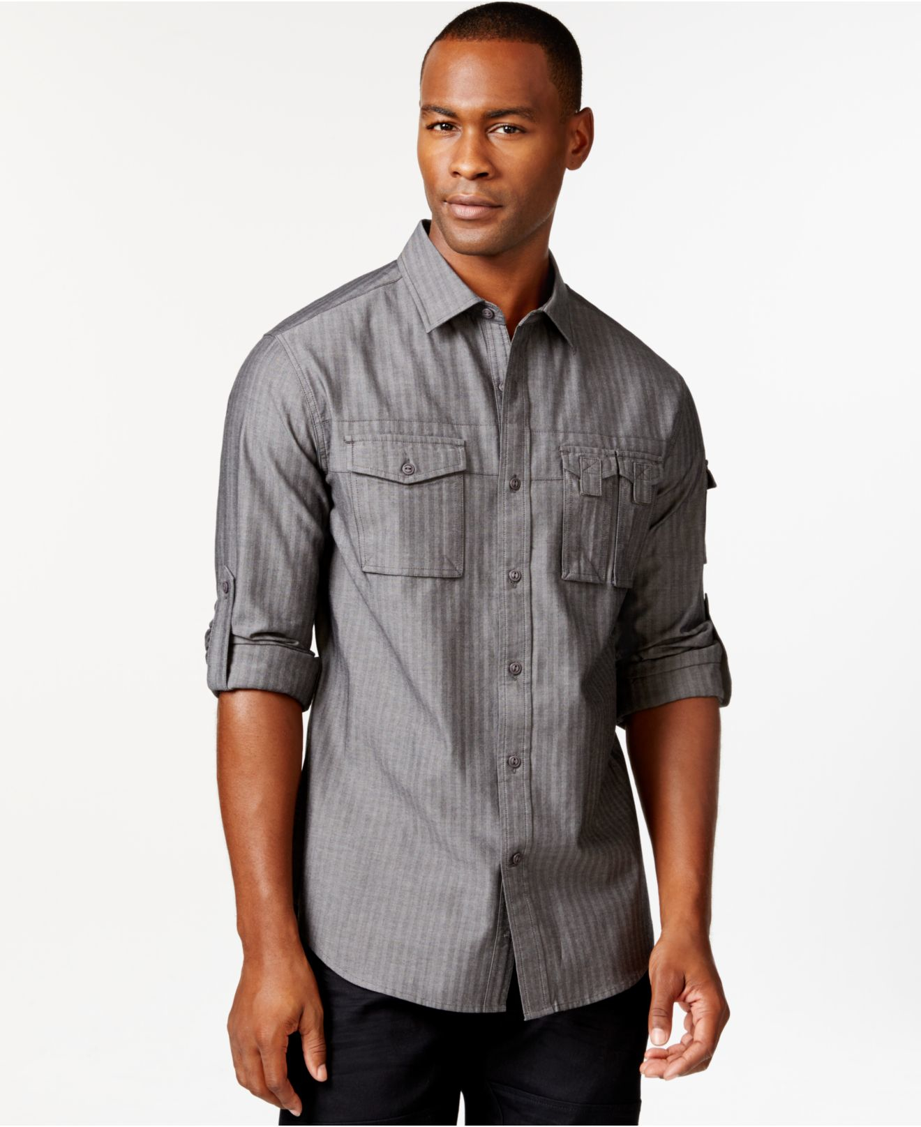 Sean john big tall striped button front shirt in gray for Big and tall button up shirts