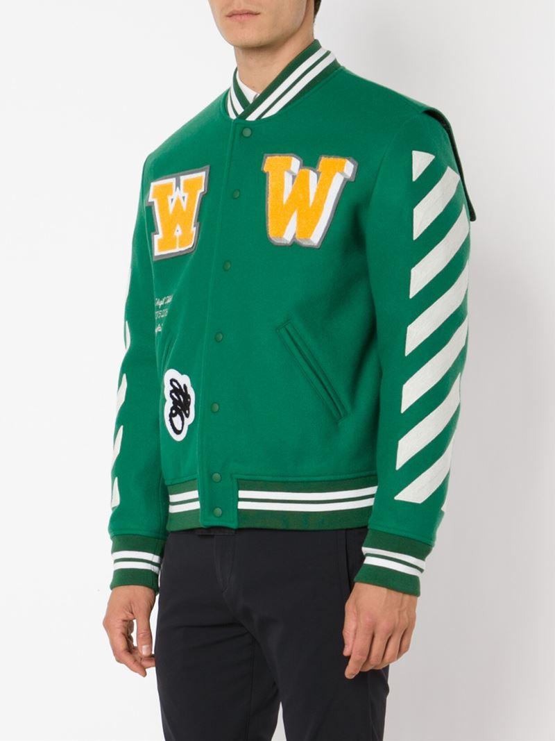 Off-white c/o virgil abloh Striped Varsity Jacket in Green for Men ...