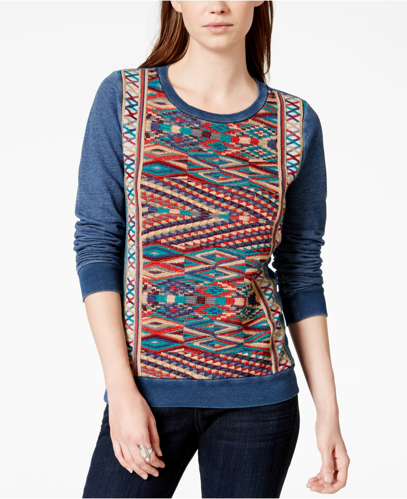 Lyst lucky brand embroidered pullover sweater