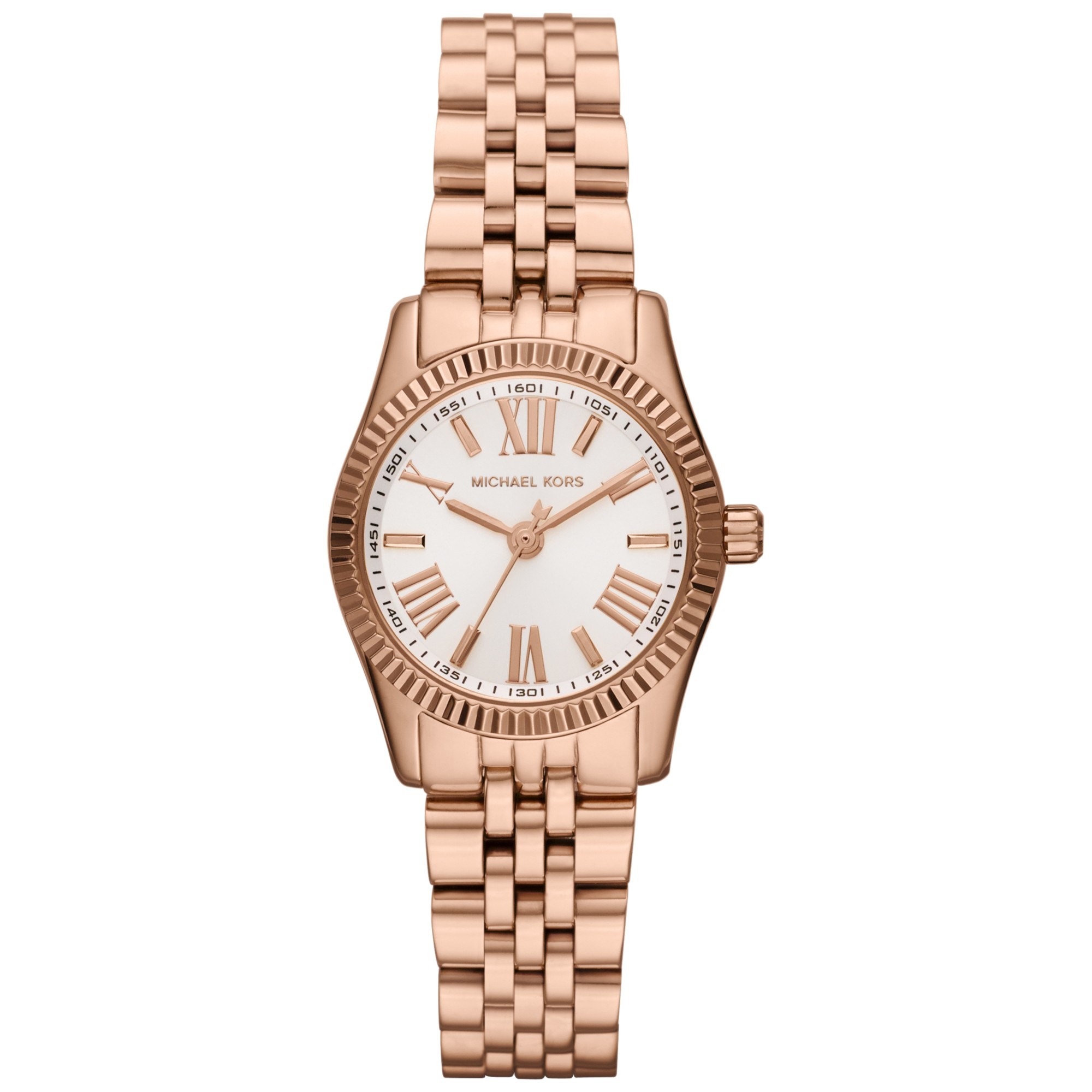 michael kors petite silver color stainless steel lexington threehand watch in gold rose gold. Black Bedroom Furniture Sets. Home Design Ideas