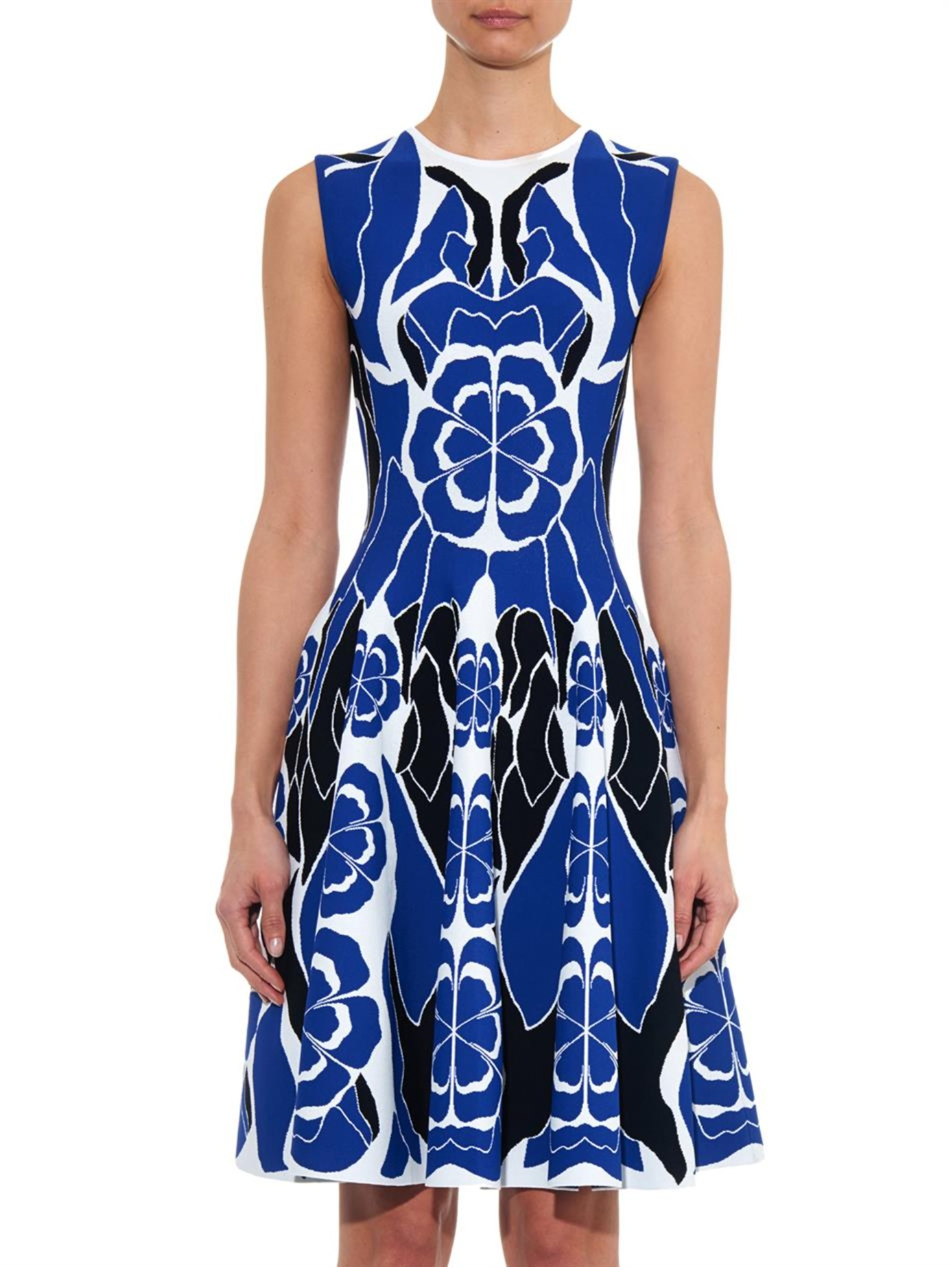 Alexander McQueen Floral-Intarsia Stretch-Knit Dress in Blue ...