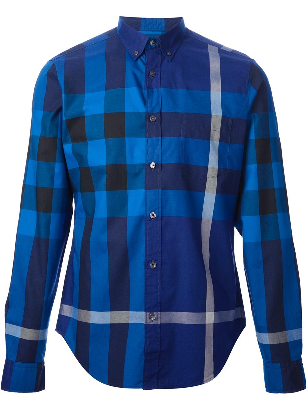 mens blue burberry shirt