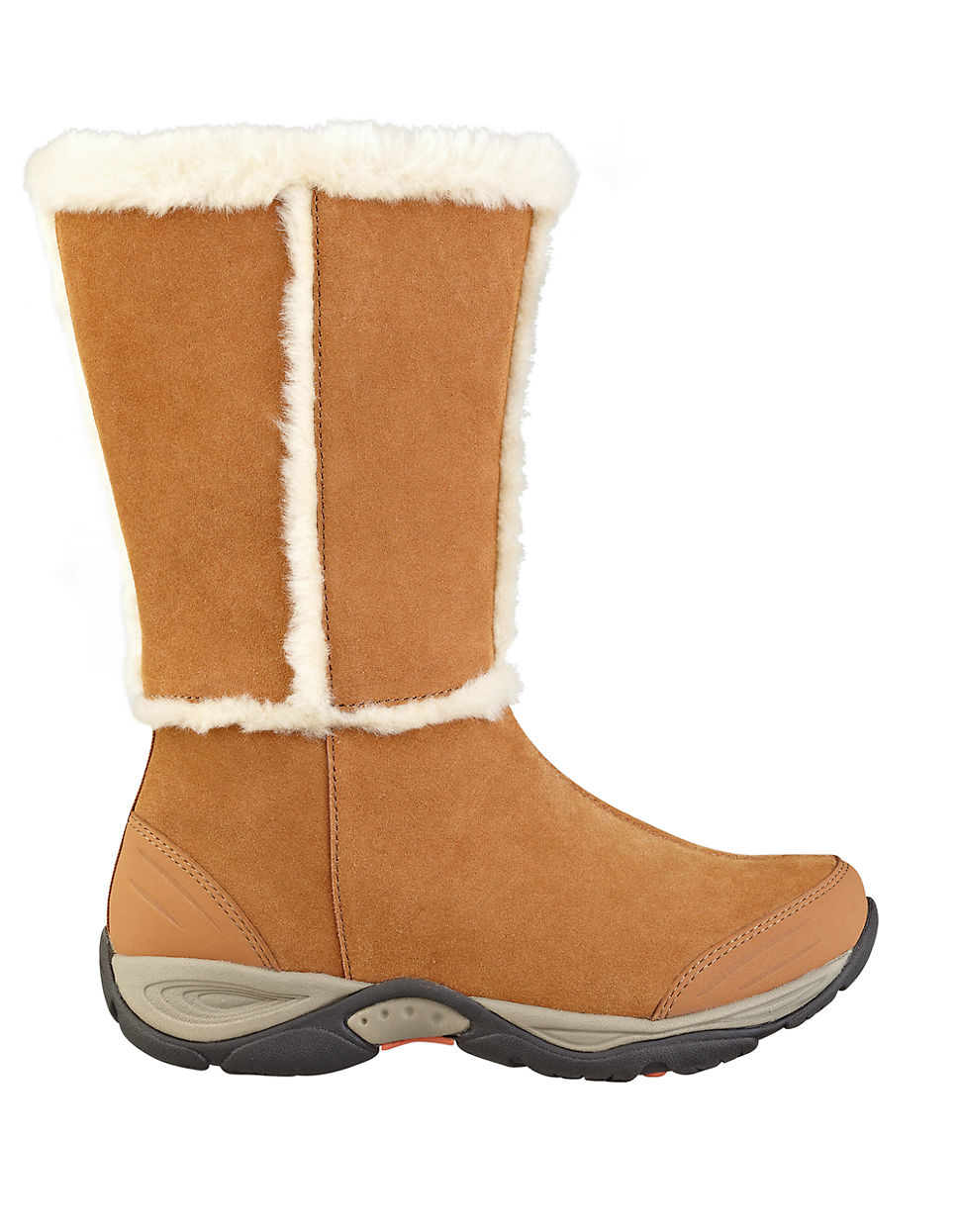 easy spirit elk faux fur trimmed suede boots in brown