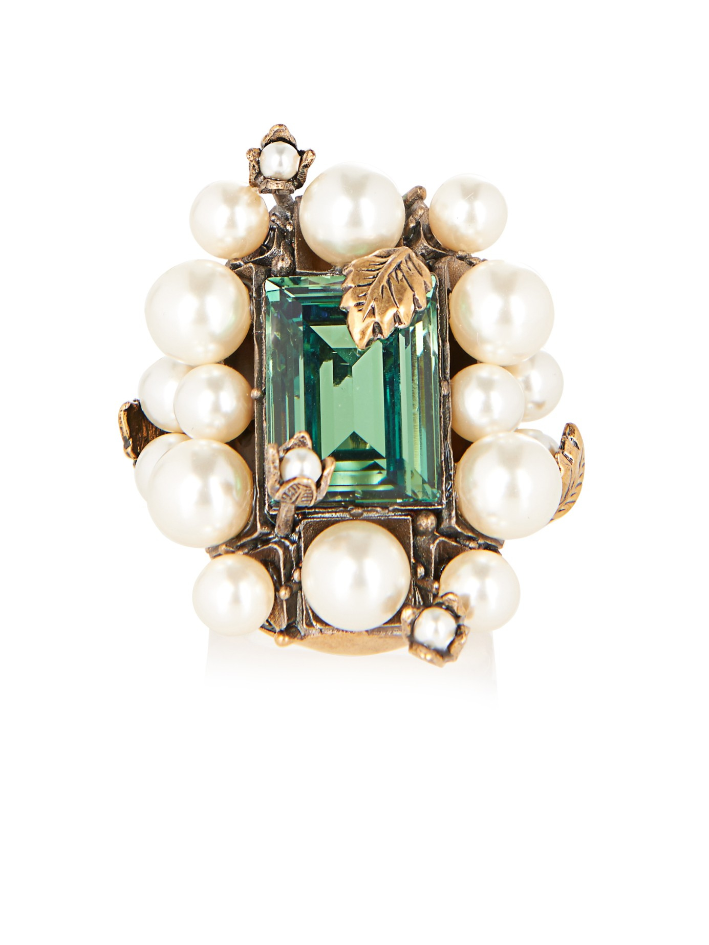 Gucci Crystal And Pearl Flowering Ring In Green Gold