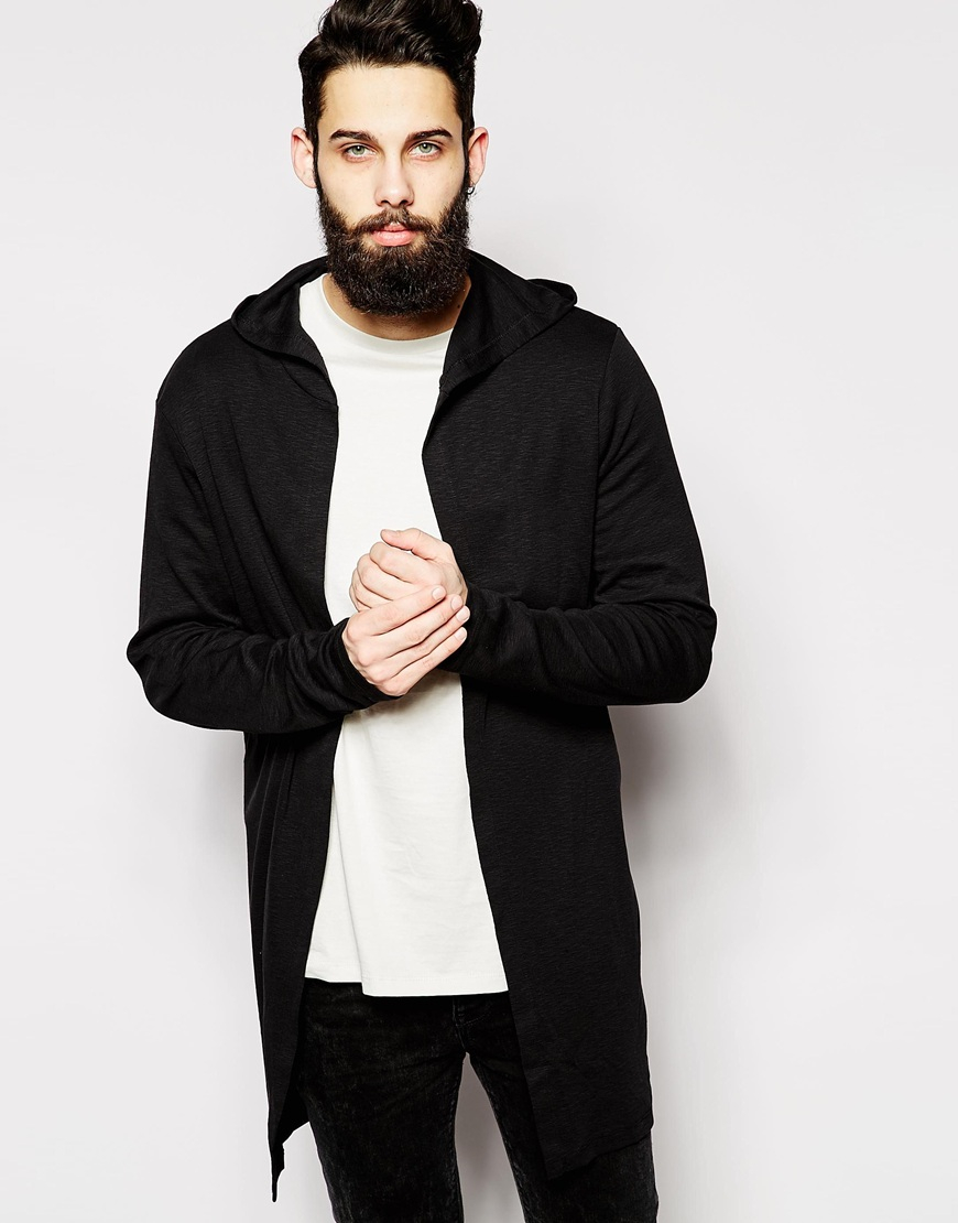 Asos Super Longline Hooded Cardigan In Slub Fabric in Black for ...