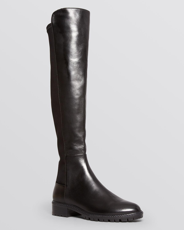 73e94d93287 Stuart Weitzman Black Lugmainline Stretch Flat Tall Boots - Bloomingdale's  Exclusive