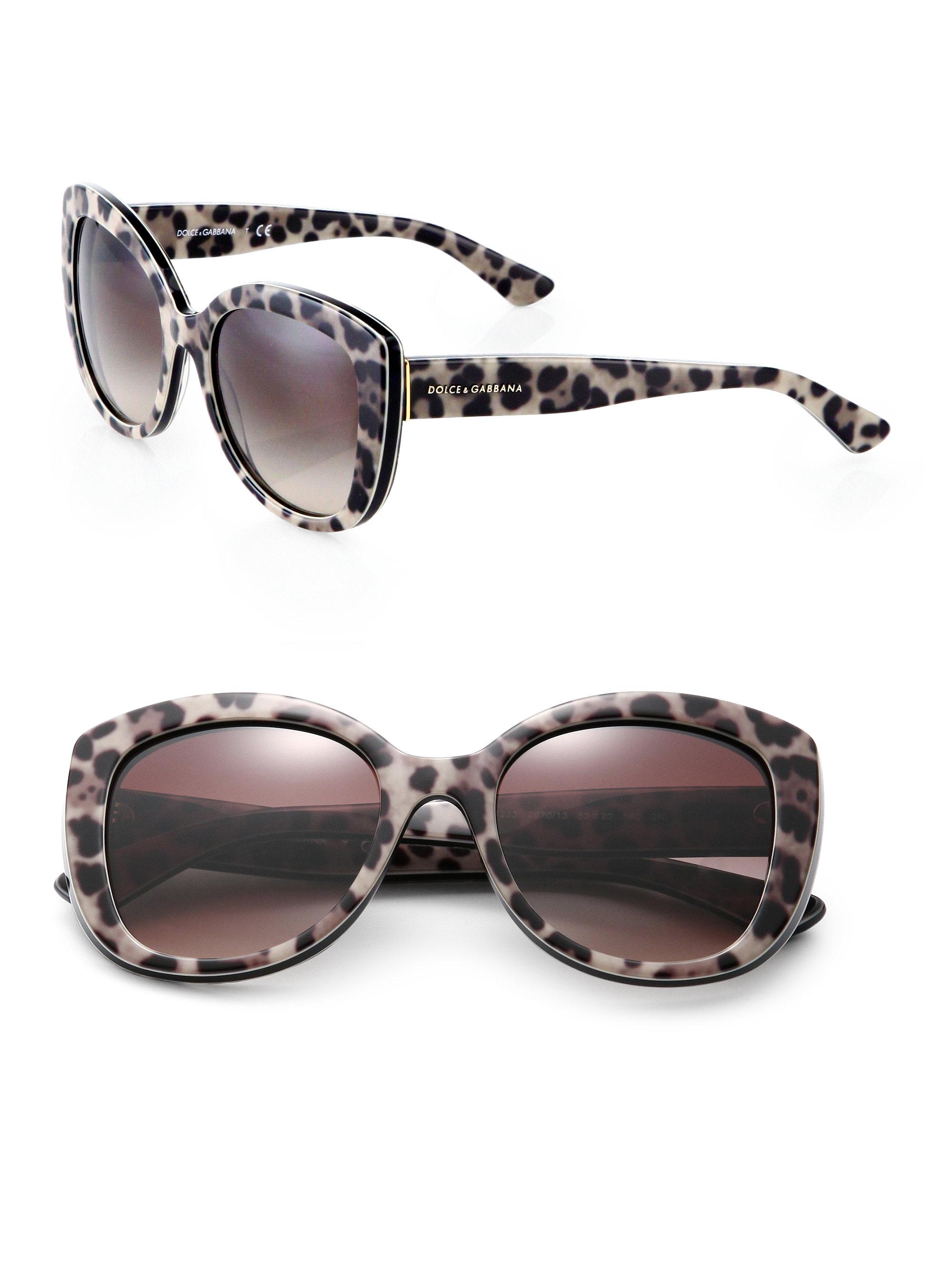 138b9d49d Dolce & Gabbana Leopard-print 53mm Cat's-eye Sunglasses - Lyst