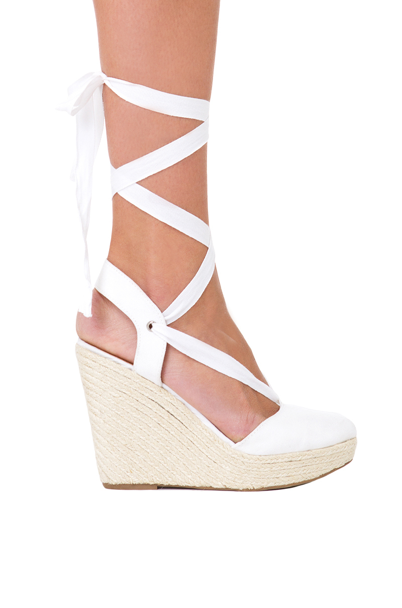 Akira Ankle Wrap White Espadrille Wedges In White Lyst