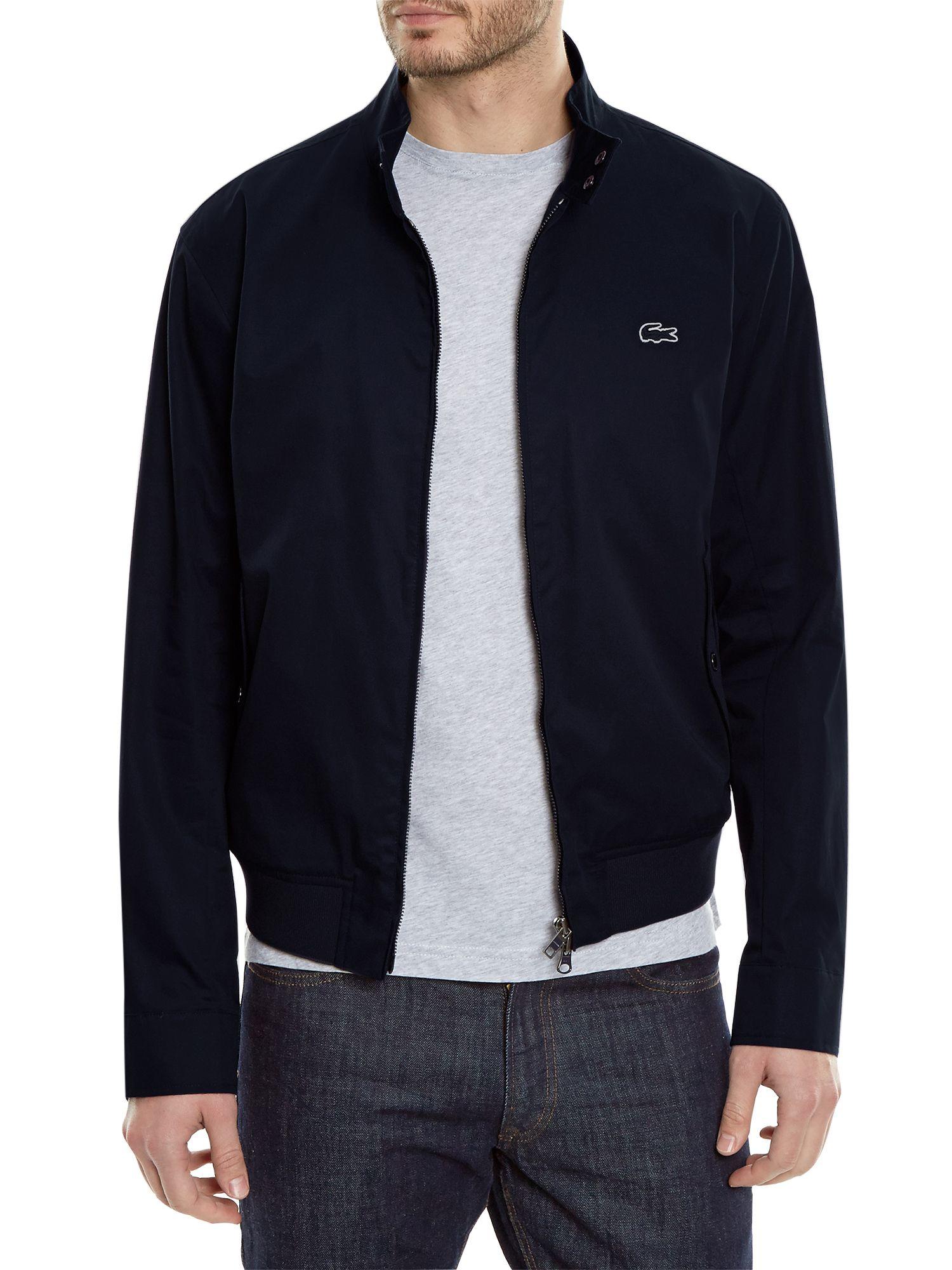 Lacoste Cotton Twill Harrington Jacket In Blue For Men Lyst