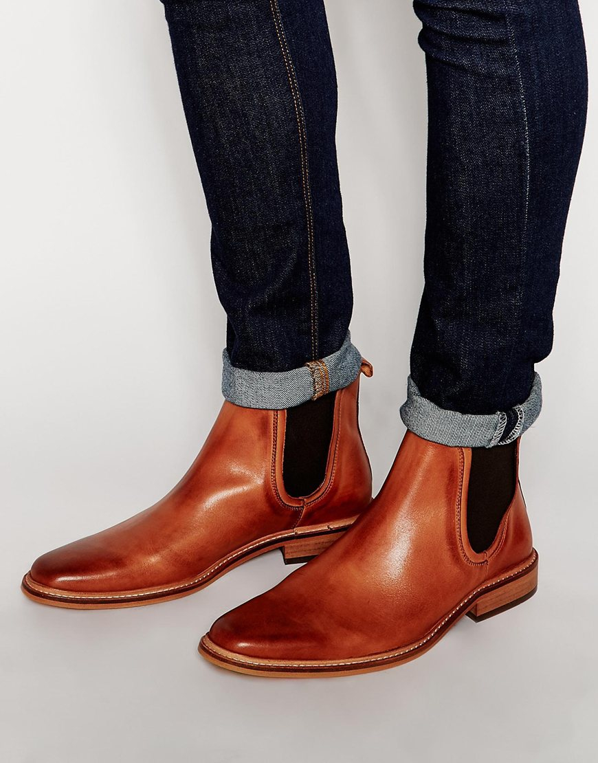Lyst Dune Leather Manderin Chelsea Boots In Brown For Men