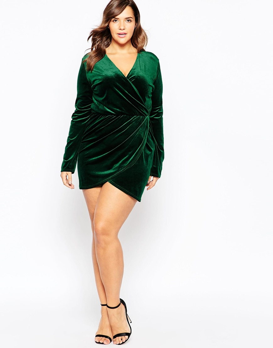 5fadb021bdb75 Club L Green Plus Size Aysemmetric Wrap Dress In Velvet