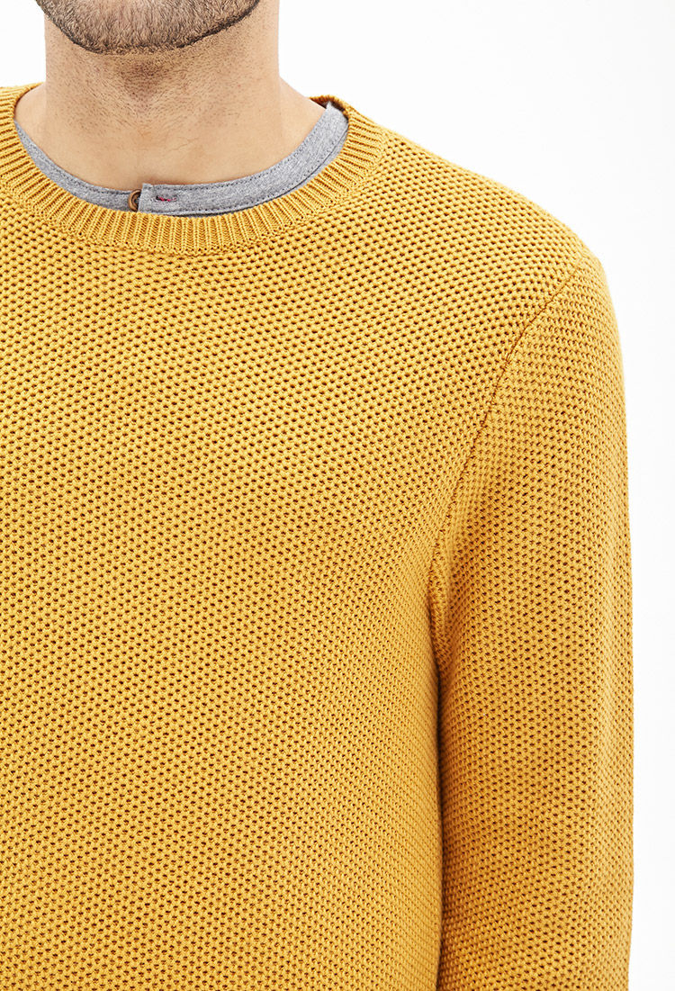 Forever 21 Waffle Knit Sweater in Yellow for Men | Lyst