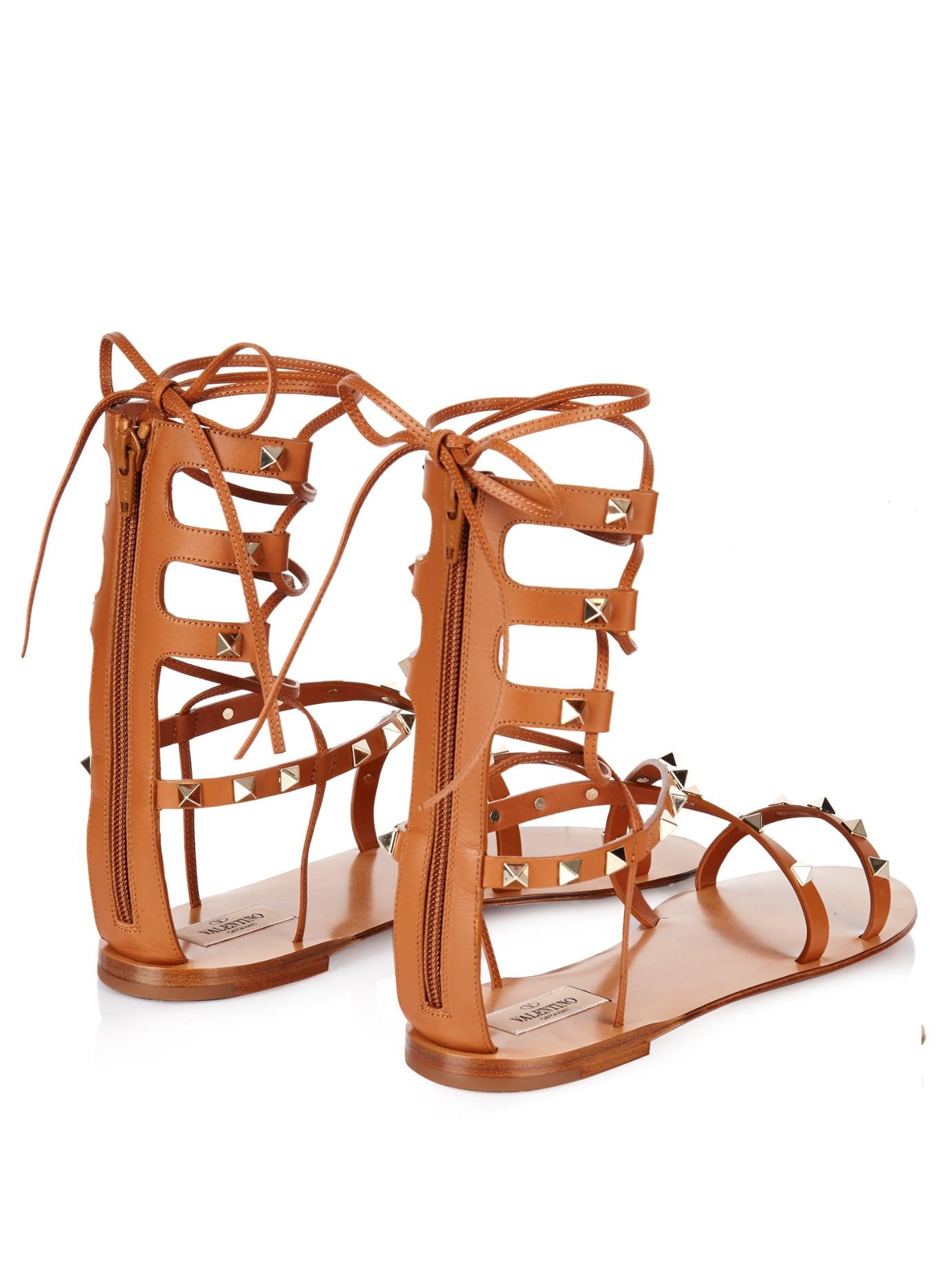 Gladiator Leather Rockstud Valentino Brown Sandals PkiOXZu