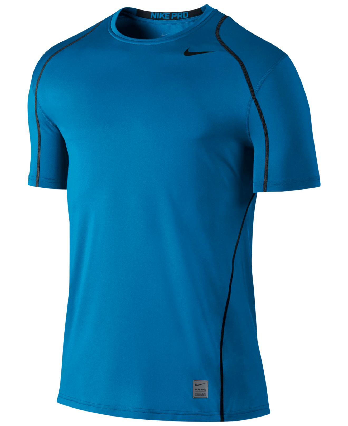 Lyst nike men 39 s pro cool fitted dri fit shirt in blue for Dri fit dress shirts