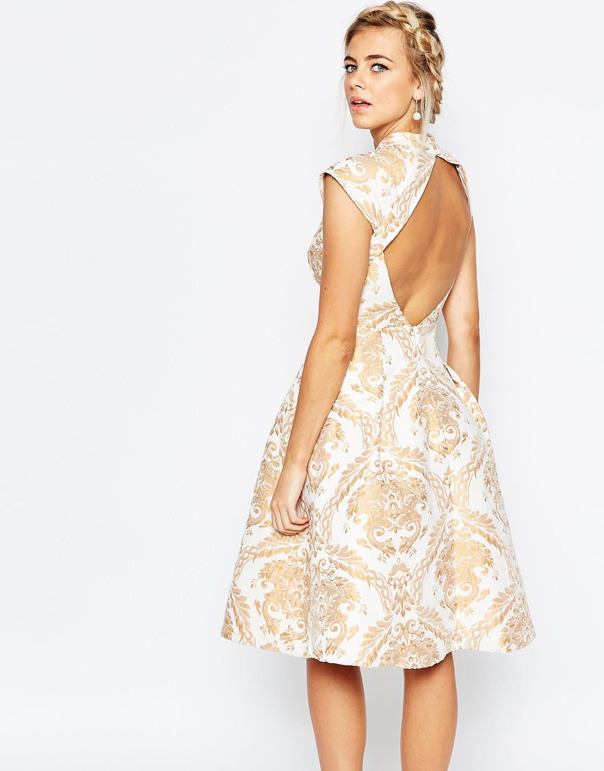 2fe6b3f17259 Chi Chi London High Neck Structured Skater Dress In Baroque Print ...