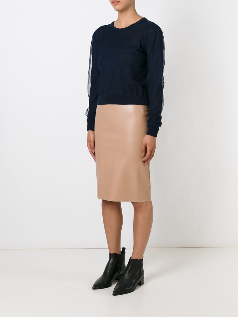 msgm faux leather pencil skirt in brown lyst