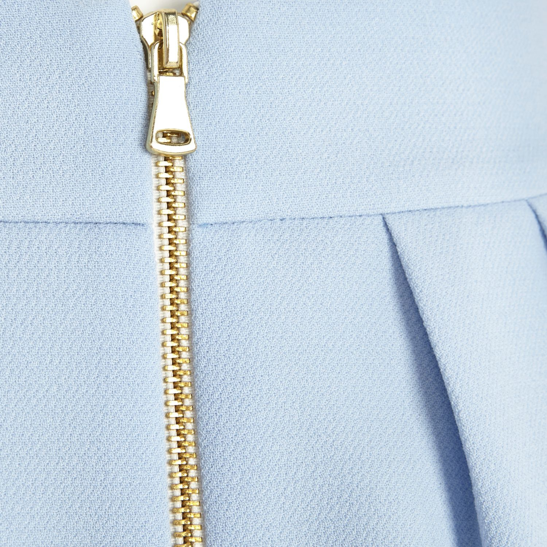 4936adac2d River Island Light Blue Box Pleat Mini Skirt in Blue - Lyst