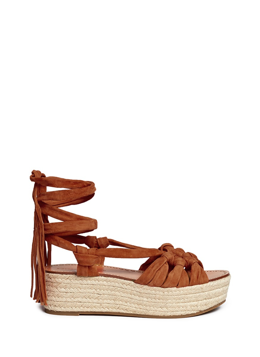 Sigerson Morrison Cosie Suede Lace Up Espadrille