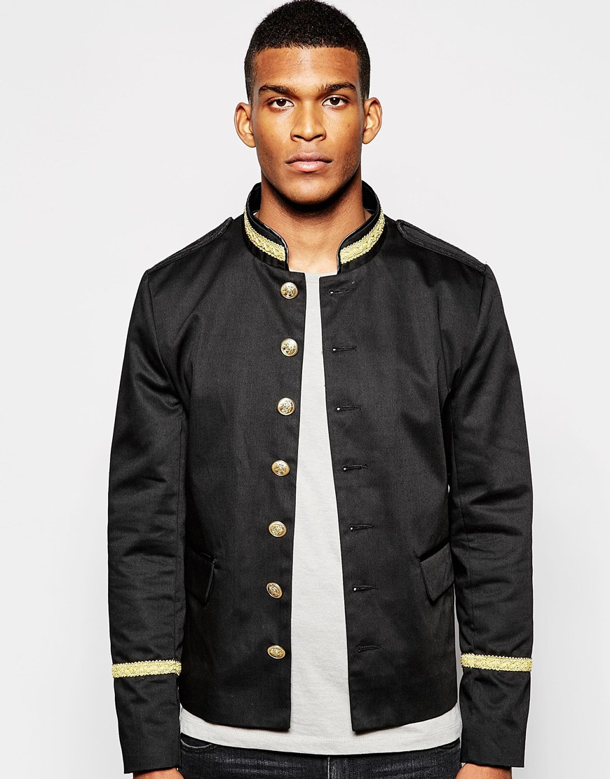 Asos Band Jacket With Gold Trim in Black for Men | Lyst