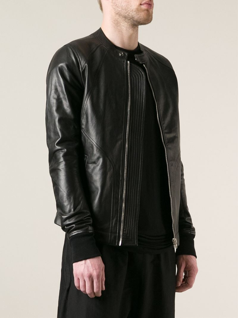 Rick Owens Intarsia Leather Jacket In Black For Men Lyst
