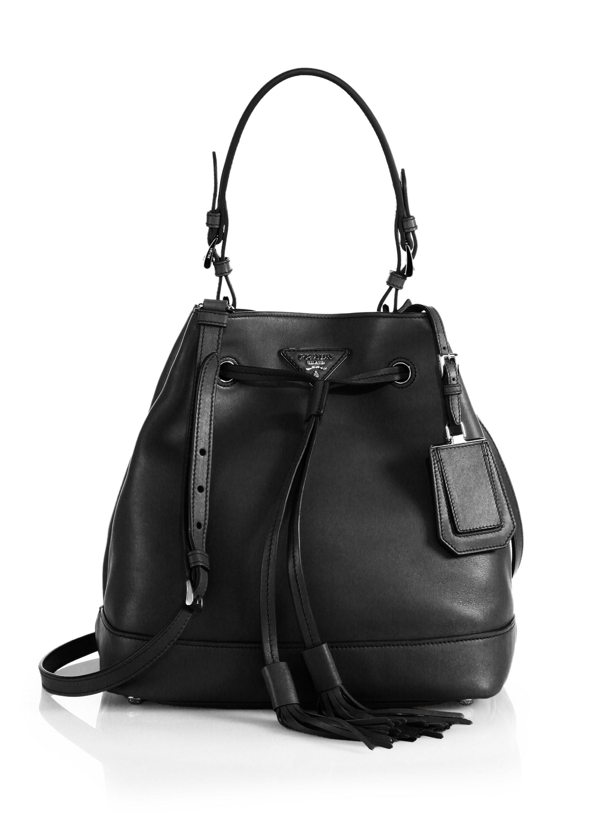 pink leather prada purse - Prada Large Bucket Bag in Black (NERO-BLACK) | Lyst