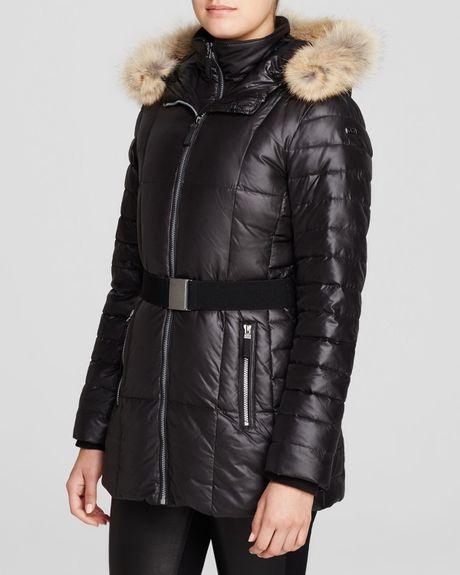 Marc New York Allison Belted Fur Trim Puffer Coat In Black