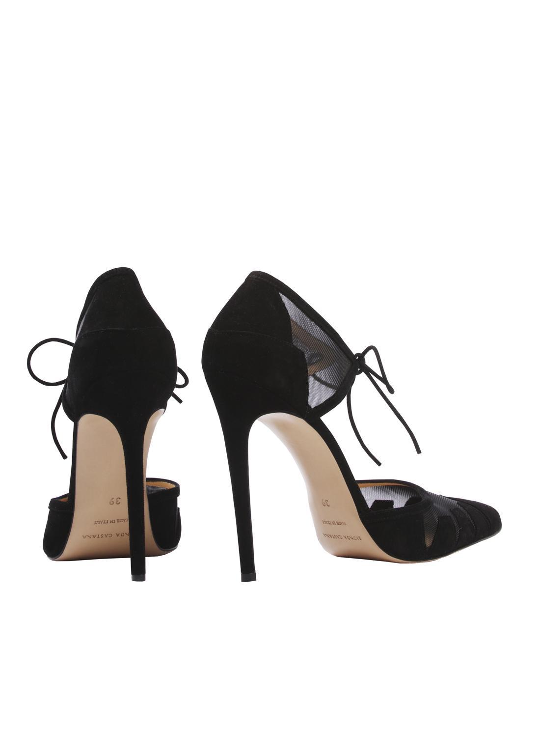 0487bdb4b8a Lyst - Bionda Castana Lana Black Suede Ankle Tie Pumps - Last Pair ...