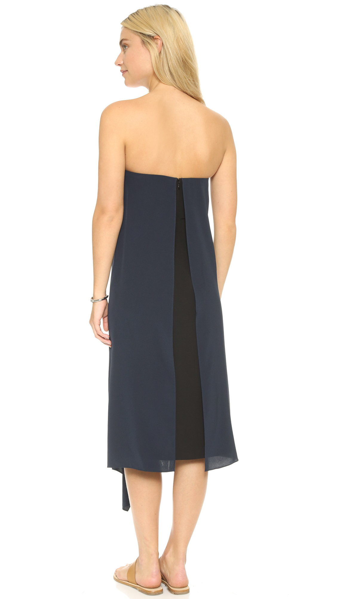 Tibi Strapless Silk Towel Dress in Blue - Lyst