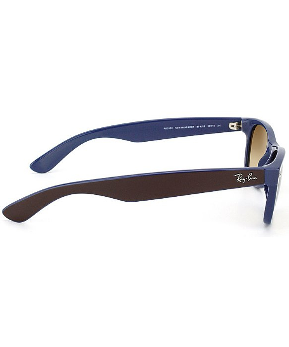 ray ban new wayfarer sunglasses top brown on blue  ray ban 2132 new wayfarer 52mm brown on blue