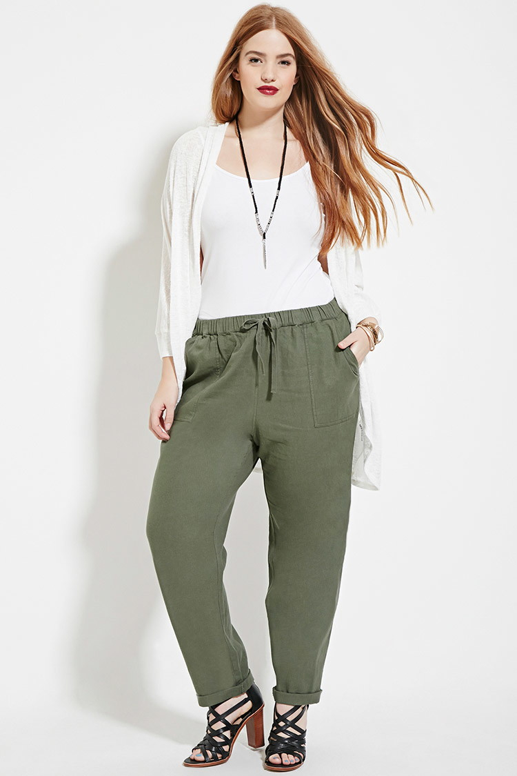 Forever 21 Plus Size Linen-blend Pants in Green | Lyst