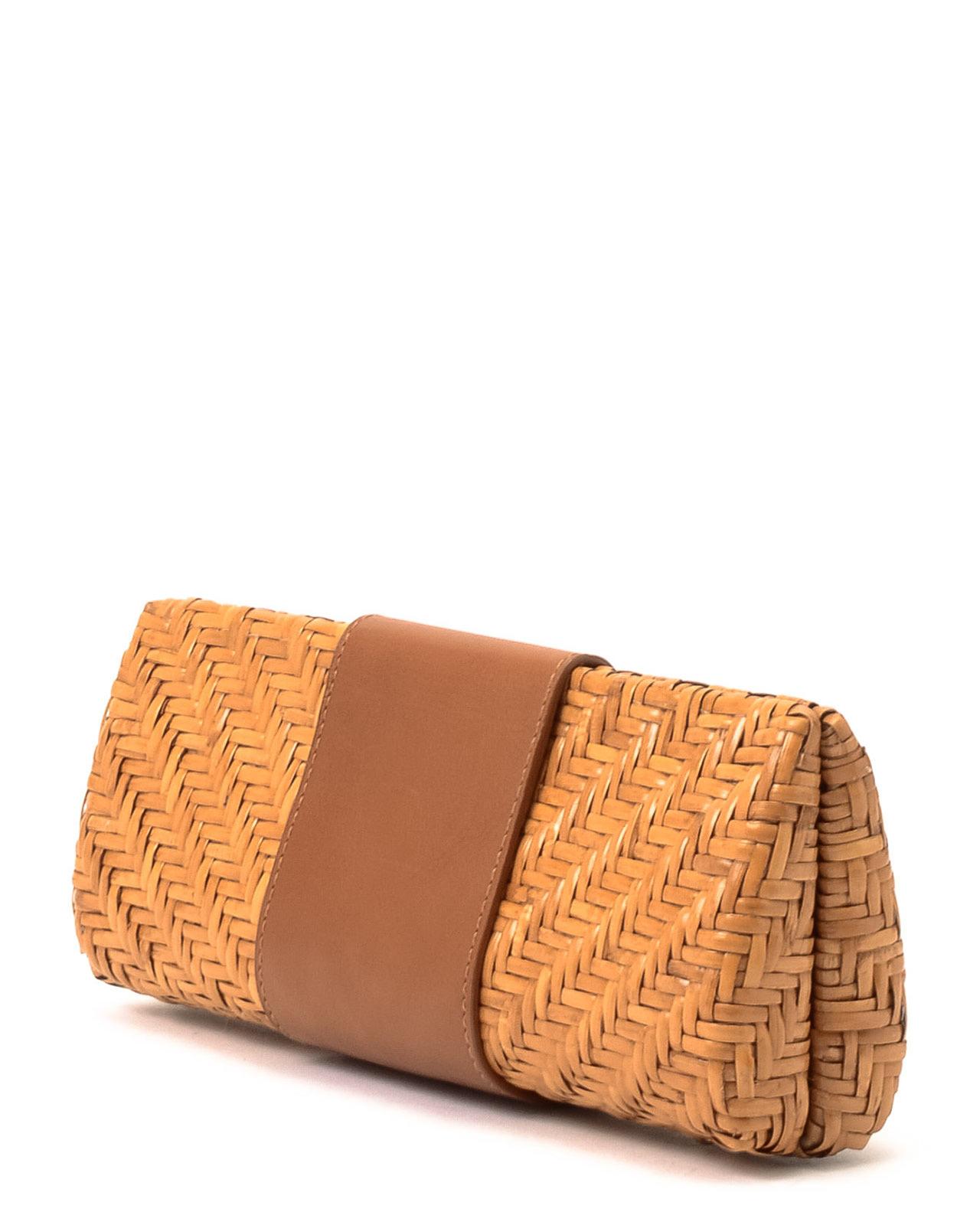 02d92ac6c64 Lyst - Tory Burch Rattan Clutch Bag in Brown